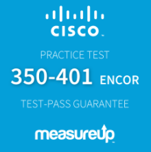 The MeasureUp 350-401 ENCOR: Implementing Cisco Enterprise Network Core Technologies practice test. Pearson logo. MeasureUp logo