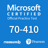 The MeasureUp 70-410: Installing and Configuring Windows Server 2012 practice test. Pearson logo. MeasureUp logo