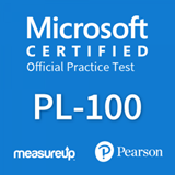 The MeasureUp PL-100: Microsoft Power Platform App Maker practice test. Pearson logo. MeasureUp logo