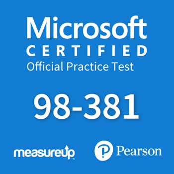 The MeasureUp MTA: 98-381 - Introduction to Programming Using Python practice test. Pearson logo. MeasureUp logo