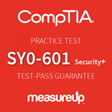 The MeasureUp SY0-601: CompTIA Security+ practice test. Pearson logo. MeasureUp logo.