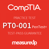 The MeasureUp PT0-001: CompTIA PenTest+ practice test. Pearson logo. MeasureUp logo.