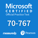 The MeasureUp 70-767: Developing Implementing a Data Warehouse using SQL practice test. Pearson logo. MeasureUp logo