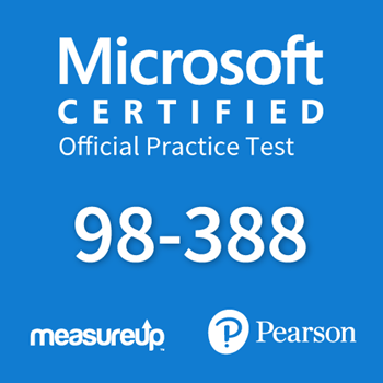 The MeasureUp MTA 98-388: Introduction to Programming using Java practice test. Pearson logo. MeasureUp logo