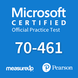 The MeasureUp 70-461 Querying Microsoft SQL Server 2012 practice test. Pearson logo. MeasureUp logo