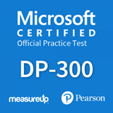 The MeasureUp DP-300: Administering Relational Databases on Microsoft Azure practice test. Pearson logo. MeasureUp logo