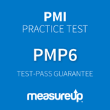 The MeasureUp PMP - Project Management Professional for PMBOK Guide Sixth Edition practice test. Pearson logo. MeasureUp logo