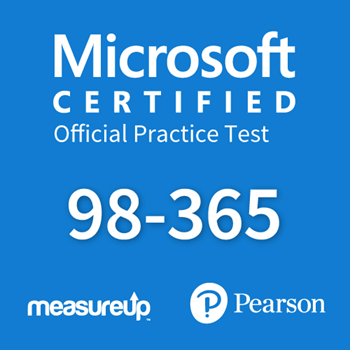 The MeasureUp MTA: 98-365 - Windows Server Administration Fundamentals practice test. Pearson logo. MeasureUp logo