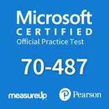The MeasureUp 70-487: Developing Microsoft Azure and Web Services practice test. Pearson logo. MeasureUp logo