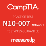 The MeasureUp CompTIA Network+ (N10-007) practice test. Pearson logo. MeasureUp logo