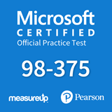 The MeasureUp MTA 98-375 - HTML5 Application Development Fundamentals practice test. Pearson logo. MeasureUp logo