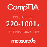 The MeasureUp CompTIA A+ Core 1 (220-1001) practice test. Pearson logo. MeasureUp logo