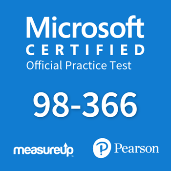 The MeasureUp MTA: 98-366 - Networking Fundamentals practice test. Pearson logo. MeasureUp logo