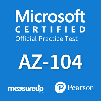 The MeasureUp AZ-104: Microsoft Azure Administrator practice test. Pearson logo. MeasureUp logo