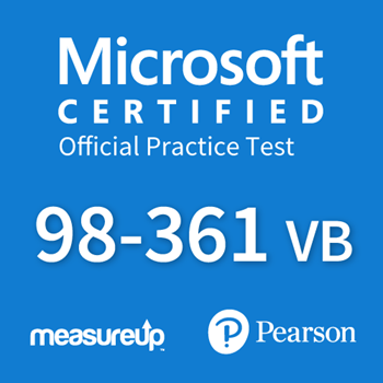 The MeasureUp MTA: 98-361 VB - Software Developer Fundamentals (VB) practice test. Pearson logo. MeasureUp logo