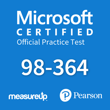 The MeasureUp MTA: 98-364 - Database Administration Fundamentals practice test. Pearson logo. MeasureUp logo