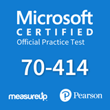 The MeasureUp 70-414 Implementing an Advanced Server Infrastructure practice test. Pearson logo. MeasureUp logo