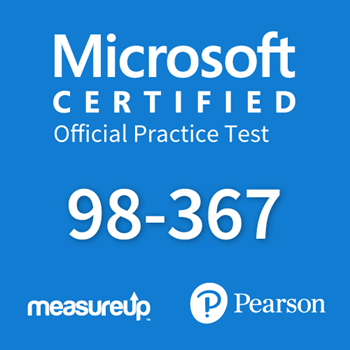 The MeasureUp MTA: 98-367 - Security Fundamentals practice test. Pearson logo. MeasureUp logo