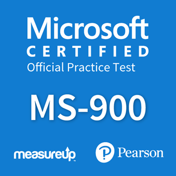The MeasureUp MS-900: Microsoft 365 Fundamentals practice test. Pearson logo. MeasureUp logo