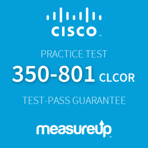 The MeasureUp 350-801 CLCOR: Implementing Cisco Collaboration Core Technologies practice test. Pearson logo. MeasureUp logo.