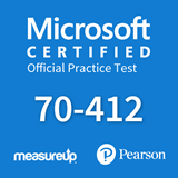 The MeasureUp 70-412 Configuring Advanced Windows Server 2012 Services practice test. Pearson logo. MeasureUp logo
