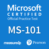 The MeasureUp MS-101: Microsoft 365 Mobility and Security practice test. Pearson logo. MeasureUp logo