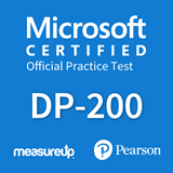 The MeasureUp DP-200: Microsoft Implementing an Azure Data Solution practice test. Pearson logo. MeasureUp logo
