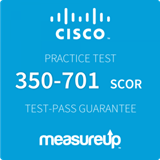 The MeasureUp 350-701 SCOR: Implementing and Operating Cisco Security Core Technologies practice test. Pearson logo. MeasureUp logo.
