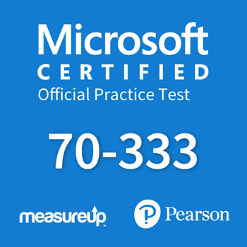 The MeasureUp 70-333: Deploying Enterprise Voice with Skype for Business 2015 practice test. Pearson logo. MeasureUp logo