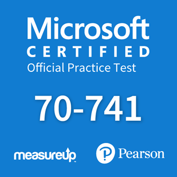 The MeasureUp 70-741: Networking with Windows Server 2016 practice test. Pearson logo. MeasureUp logo