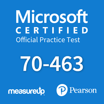 The MeasureUp 70-463: Implementing a Data Warehouse with Microsoft SQL Server 2012/2014 practice test. Pearson logo. MeasureUp logo