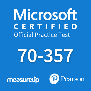 The MeasureUp 70-357: Developing Mobile Apps practice test. Pearson logo. MeasureUp logo