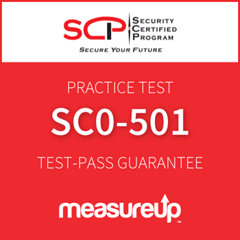 The MeasureUp SC0-501 - Network Architect: Enterprise Security Implementation (ESI) practice test. Pearson logo. MeasureUp logo