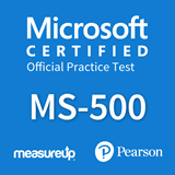 The MeasureUp MS-500: Microsoft 365 Security Administration practice test. Pearson logo. MeasureUp logo