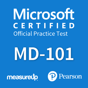 The MeasureUp MD-101: Managing Modern Desktops practice test. Pearson logo. MeasureUp logo