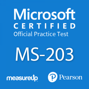 The MeasureUp MS-203: Microsoft 365 Messaging practice test. Pearson logo. MeasureUp logo