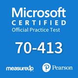 The MeasureUp 70-413 Designing and Implementing a Server Infrastructure practice test. Pearson logo. MeasureUp logo