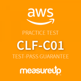 The MeasureUp CLF-C01: AWS Certified Cloud Practitioner practice test. Pearson logo. MeasureUp logo