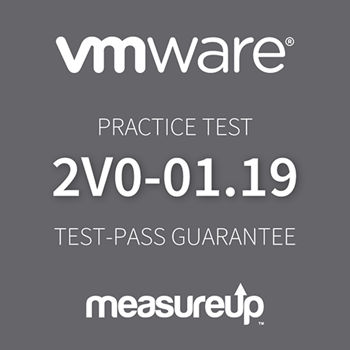 The MeasureUp VMware vSphere 6.7 Foundations (2V0-01.19) practice test. Pearson logo. MeasureUp logo