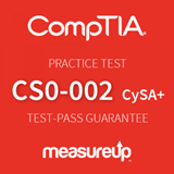 The MeasureUp Cybersecurity Analyst (CS0-002) practice test. Pearson logo. MeasureUp logo