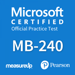 The MeasureUp MB-240: Microsoft Dynamics 365 Field Service practice test. Pearson logo. MeasureUp logo