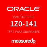 The MeasureUp 1Z0-141 - Oracle Forms: Build Internet Applications practice test. Pearson logo. MeasureUp logo
