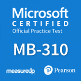 The MeasureUp MB-310: Microsoft Dynamics 365 Finance practice test. Pearson logo. MeasureUp logo