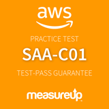 The MeasureUp SAA-C01: AWS Certified Solutions Architect - Associate practice test. Pearson logo. MeasureUp logo