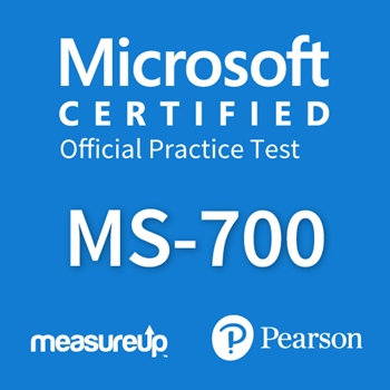 The MeasureUp MS-700: Managing Microsoft Teams practice test. Pearson logo. MeasureUp logo