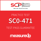 The MeasureUp SC0-471 - Network Professional: Strategic Infrastructure Security (SIS) practice test. Pearson logo. MeasureUp logo