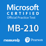 The MeasureUp MB-210: Microsoft Dynamics 365 Sales practice test. Pearson logo. MeasureUp logo