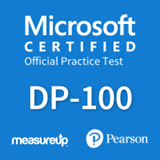 The MeasureUp DP-100: Designing and Implementing a Data Science Solution on Azure practice test. Pearson logo. MeasureUp logo