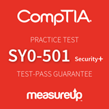 The MeasureUp Security+ (SY0-501) practice test. Pearson logo. MeasureUp logo