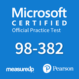 The MeasureUp MTA: 98-382 - Introduction to Programming with JavaScript practice test. Pearson logo. MeasureUp logo